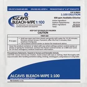 Bleach Wipe Disinfectant - 1:100 Dilution, 1 Wipe/Pack, Case