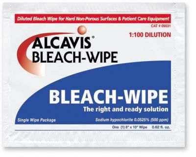 Bleach Wipe Disinfectant - 1:100 Dilution, 2 Wipes/Pack - Case