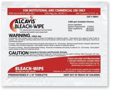 Bleach Wipe Disinfectant - 1:10 Dilution, Case