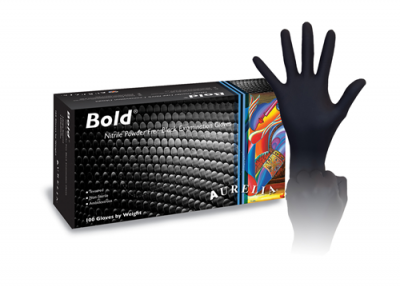 Aurelia Bold Nitrile Black Gloves - Small, 100 per box