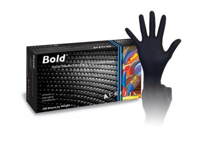 Aurelia Bold Nitrile Black Gloves - Large, 100 per box
