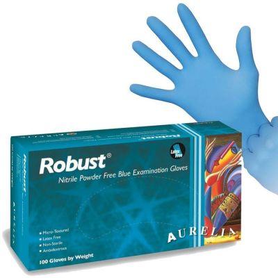 Aurelia Robust Nitrile Blue Exam Gloves - Medium, 100 per box